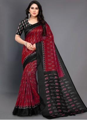 Red Art Silk Abstract Print Designer Traditional Saree