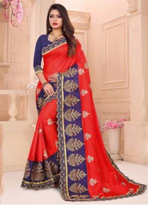 Red Art Silk Ceremonial Designer Traditional Saree