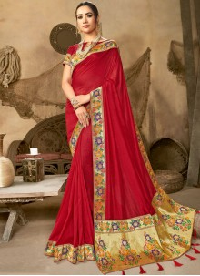 Red Art Silk Designer Saree