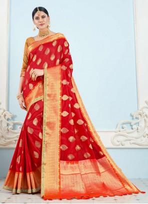 Red Art Silk Festival Classic Saree