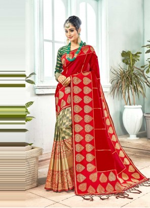 Red Art Silk Festival Designer Traditional Saree
