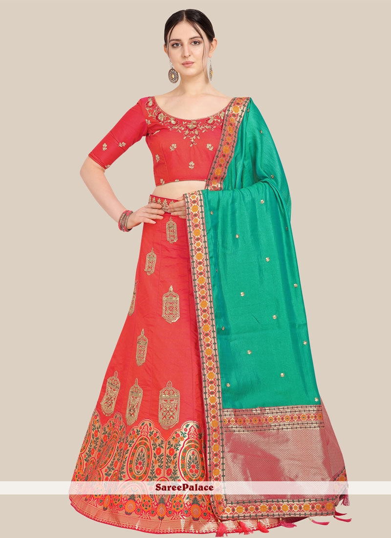 Red Art Silk Mehndi Lehenga Choli