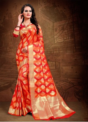 Red Art Silk Party Trendy Saree