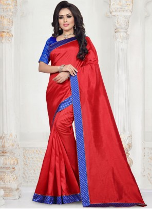 Red Art Silk Patch Border Traditional Saree