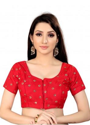 Red Art Silk Printed Blouse