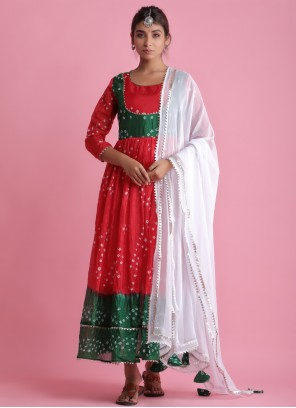 Red Art Silk Readymade Suit