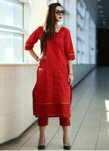 Red Art Silk Reception Party Wear Kurti