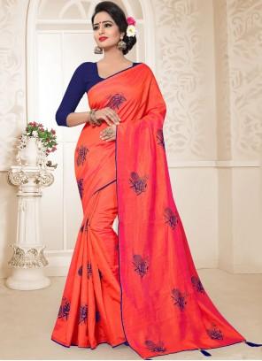 Red Art Silk Resham Traditional Designer Saree