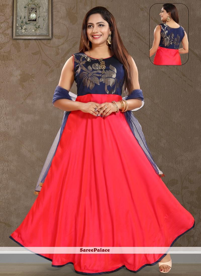 Red Art Silk Salwar Kameez