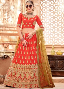 Red Art Silk Sangeet Lehenga Choli