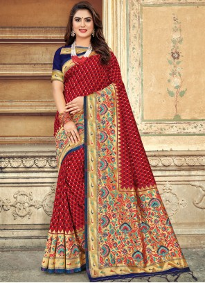 Red Art Silk Weaving Designer Saree