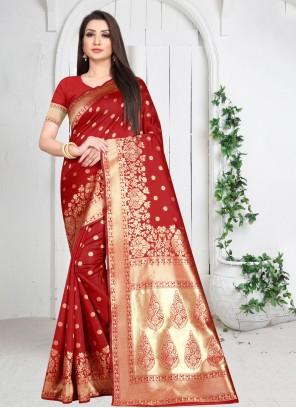 Red Art Silk Weaving Traditional Designer Saree