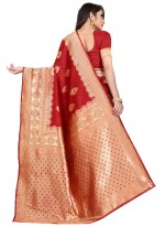 Red Art Silk Weaving Traditional Saree