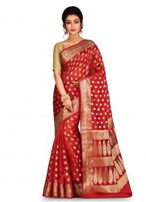 Red Banarasi Silk Bollywood Saree