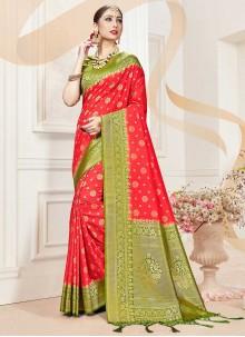 Red Banarasi Silk Designer Traditional Saree