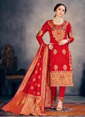 Red Banarasi Silk Festival Pant Style Suit