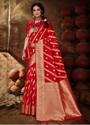 Red Banarasi Silk Festival Traditional Saree
