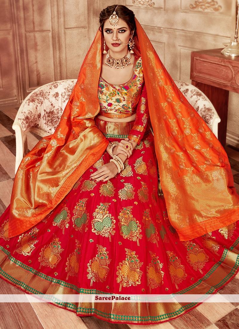 cc9d39ba53 Buy Red Banarasi Silk Lehenga Choli Online