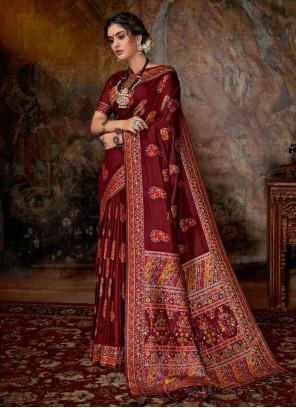 Red Banarasi Silk Reception Classic Saree