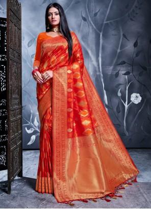 Red Banarasi Silk Reception Designer Saree