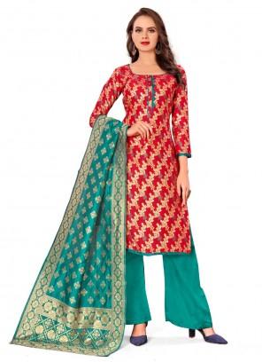 Red Banarasi Silk Reception Salwar Kameez