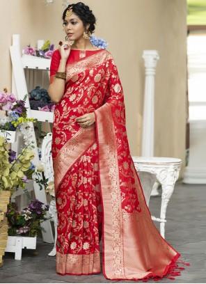 Red Banarasi Silk Sangeet Designer Traditional Saree