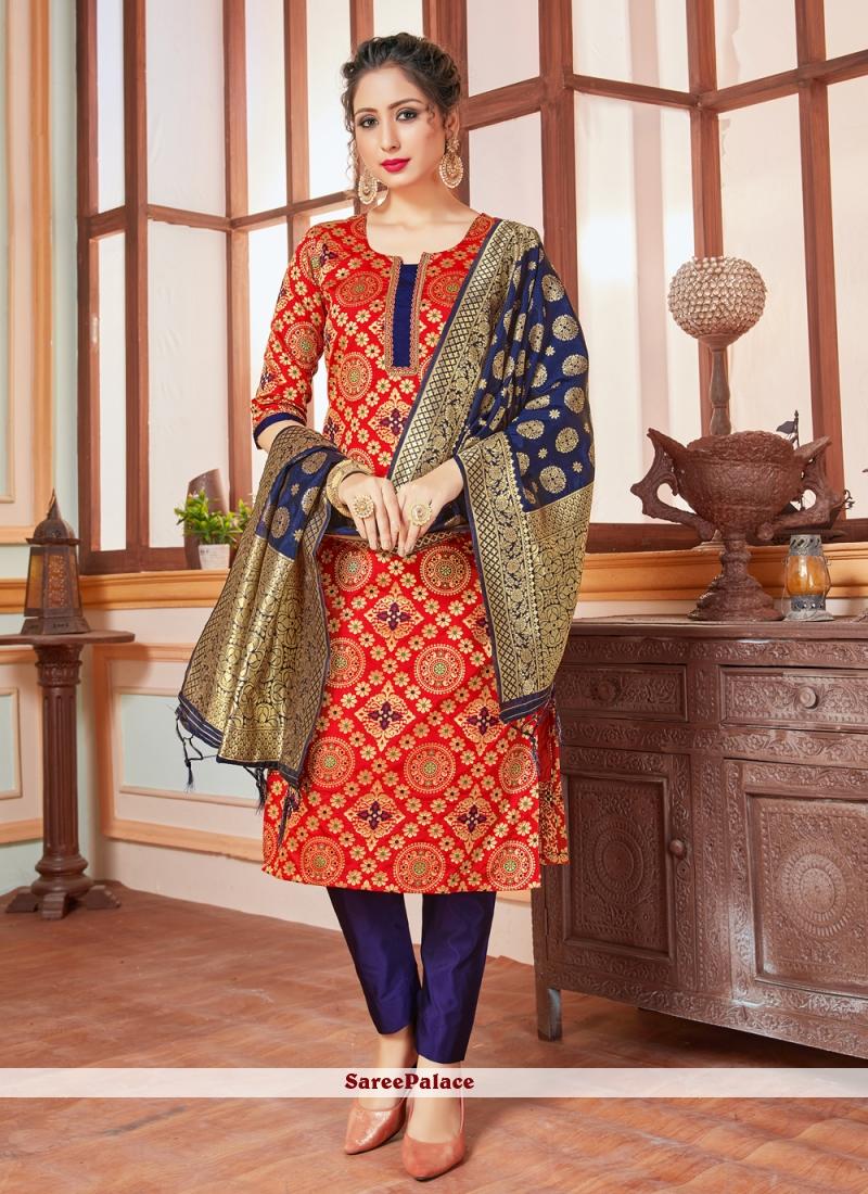 Red Banarasi Silk Trendy Salwar Kameez