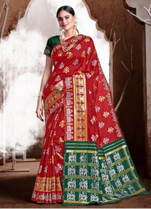 Red Banarasi Silk Weaving Classic Saree