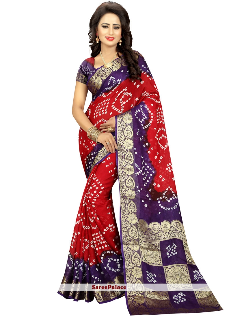 6d98d6c77f Buy Red Bandhej Work Art Silk Bandhani Saree Online