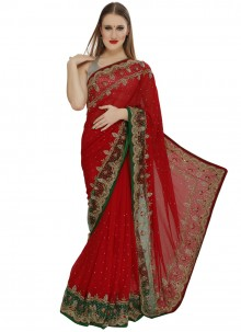 Red Bead Work Georgette Classic Designer Saree