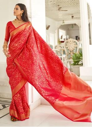 Red Weaving Zari Bollywood Saree