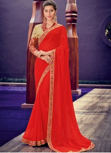 Red Border Faux Chiffon Trendy Saree