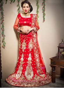 Red Border WorkLehenga Choli