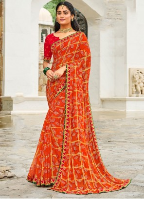 Red Border Wedding Traditional Saree