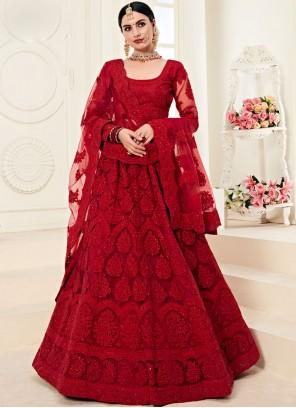 Red Bridal Designer A Line Lehenga Choli
