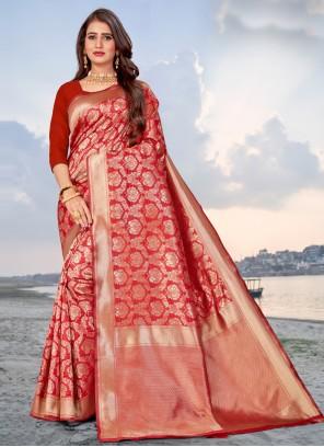 Red Casual Banarasi Silk Traditional Saree