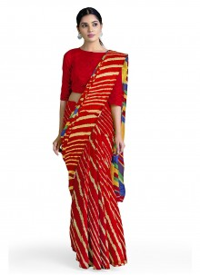Red Faux Georgette Casual Saree