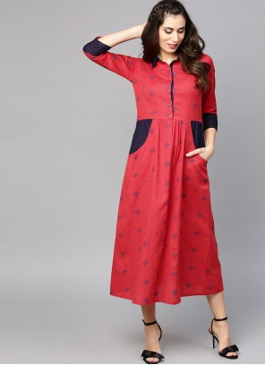 Red Casual Cotton Casual Kurti