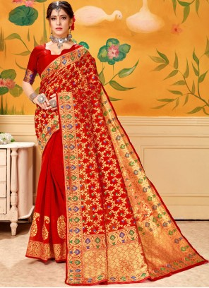 Red Casual Cotton Casual Saree