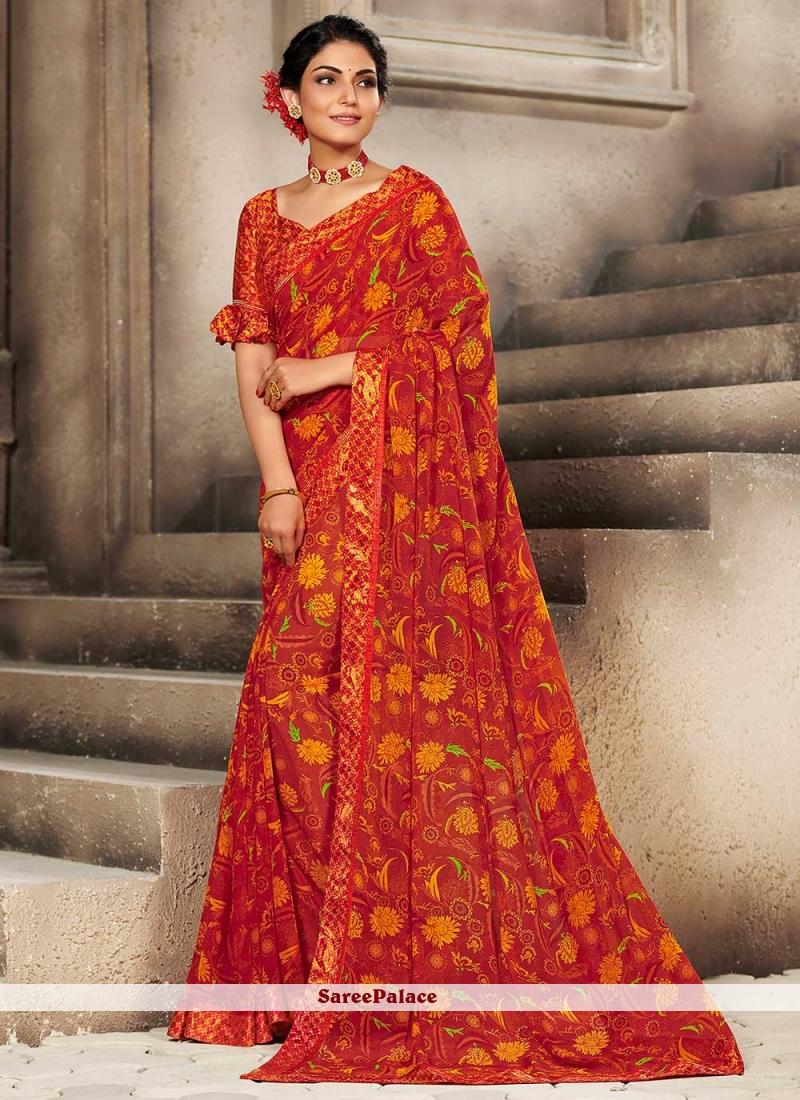 Red Faux Georgette Casual Printed Saree