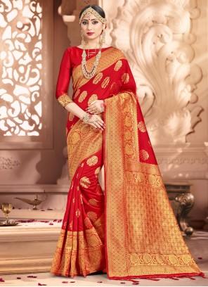 Red Ceremonial Art Banarasi Silk Traditional Saree