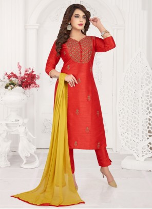 Red Ceremonial Art Silk Designer Salwar Kameez