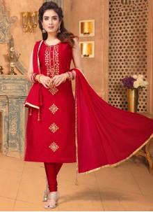 Red Ceremonial Churidar Salwar Suit