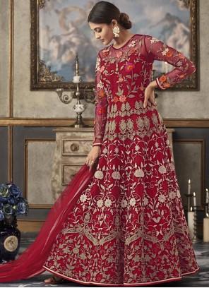 Red Ceremonial Net Floor Length Anarkali Suit