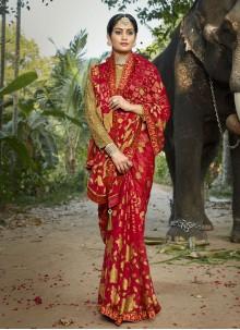 Red Ceremonial Printed Saree