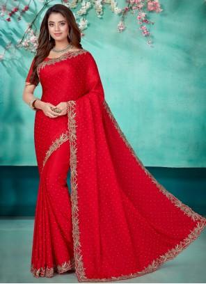 Red Ceremonial Satin Designer Saree