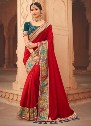Red Ceremonial Silk Designer Traditional Saree