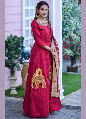 Red Chanderi Designer Floor Length Salwar Suit