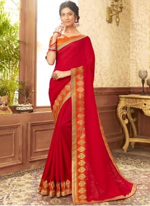 Red Chanderi Traditional Designer Saree
