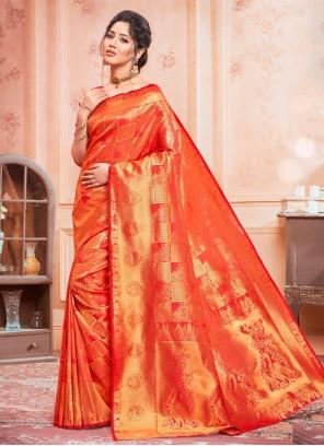 Red Jacquard Silk Classic Designer Saree
